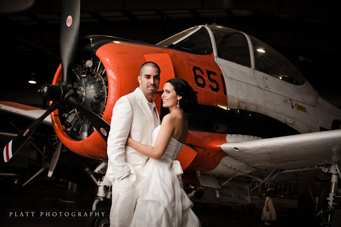 Portrait at the Wedding reception in airplane hanger at the Grand Canyon Air Museum