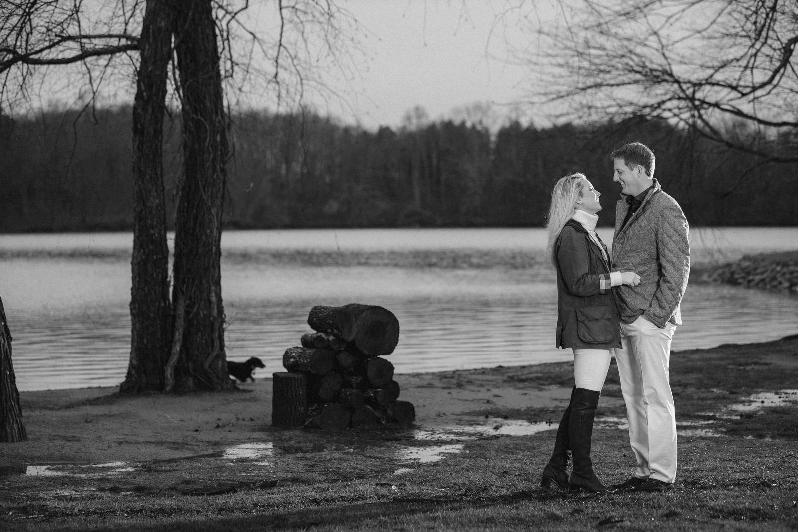Engagement portraits in Atlanta Georgia near the lake Black and White