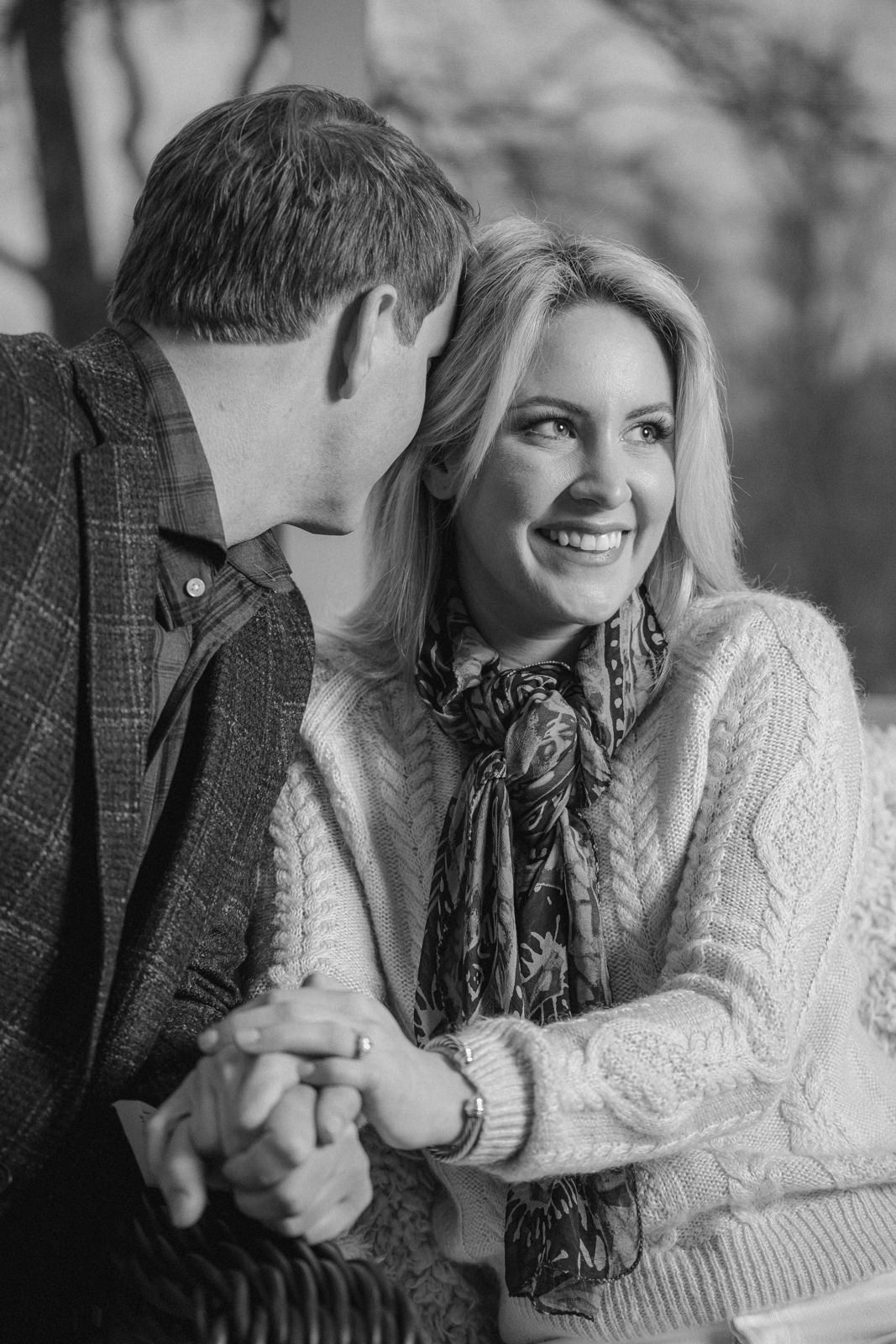 Engagement portraits in Atlanta Georgia in the lake house